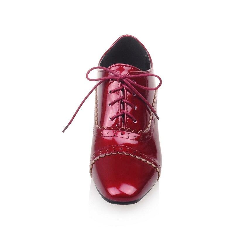 apricot Otoño El Patente Más Ocasionales Negro Square Toe Lace Mujeres Brogue blanco Tamaño Grande Pequeño 32 Nueva B 4 Up 2017 rojo Venta 46 Zapatos Primavera qpZtwTx4
