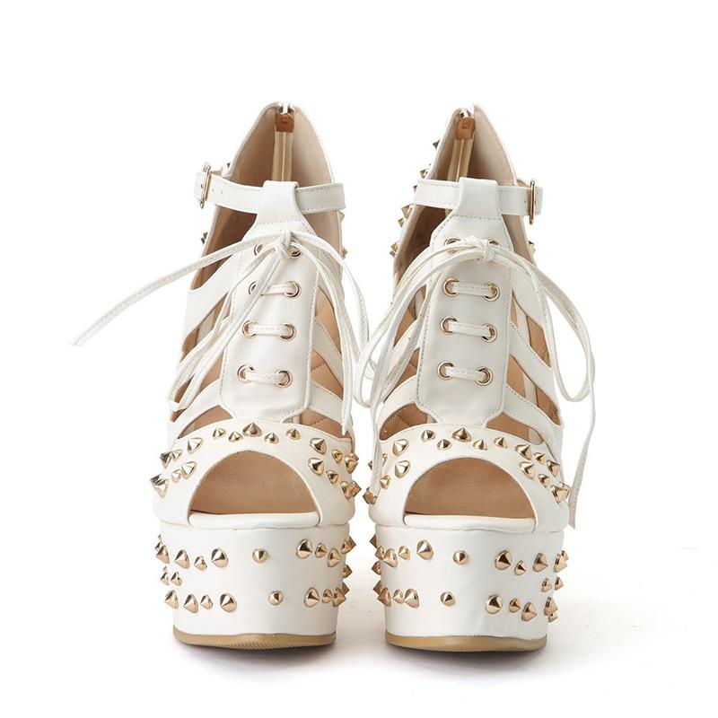 Cales New 2019 36 Summer Blanc Rxemzg La Plate À Hauts Talons Plus Peep Toe Mode 47 Sexy De Femmes Taille Rivets Sandales forme Femme p8wq5dcW5