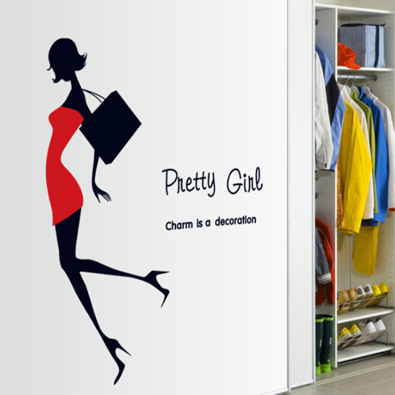 Fashion Modern Beauty Women Red Dress Black Bag Home Decor Wall Sticker  Pretty Girl Room Clothing