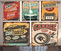 Vintage Decor Curtains Nostalgic Art Auto Service Garage Funk Style Highway Logo Repair Road Grunge Decor Living Room Bedroom