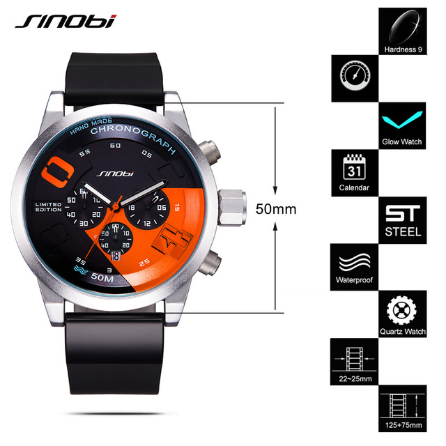 SINOBI Large Dial Design Chronograph Sport Mens Watches Fashion Brand Military Waterproof Quartz Watch Clock Relogio Masculino