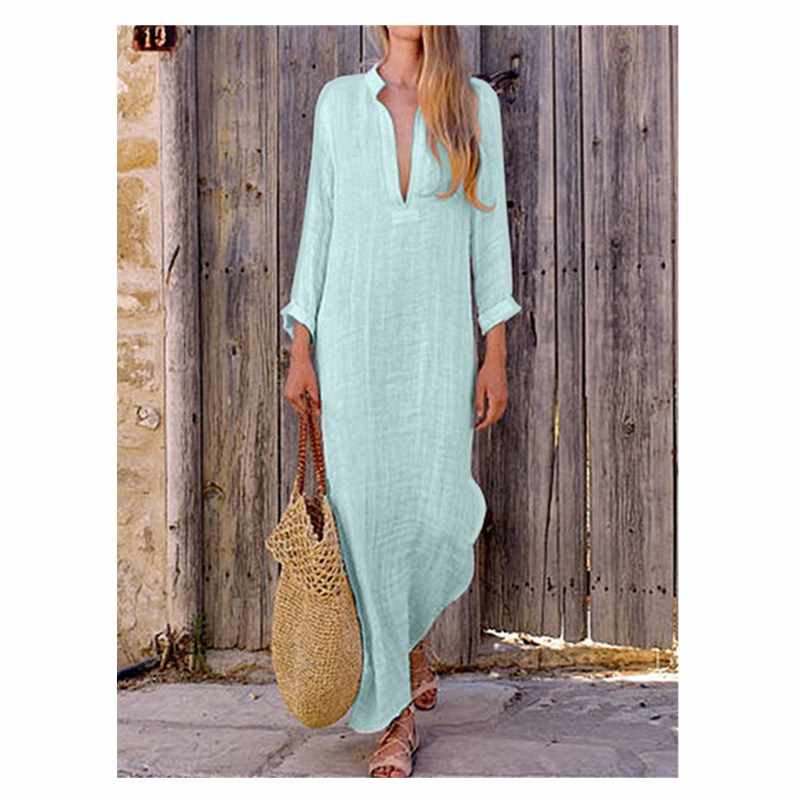 Élégant dames Maxi longues robes femmes caftan coton à manches longues plaine Casaul surdimensionné solide blanc chemise
