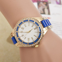 New Women's Quartz Watch Roman Numerals Relojes Analog Rhinestone Relogio Golden Wrist Watches
