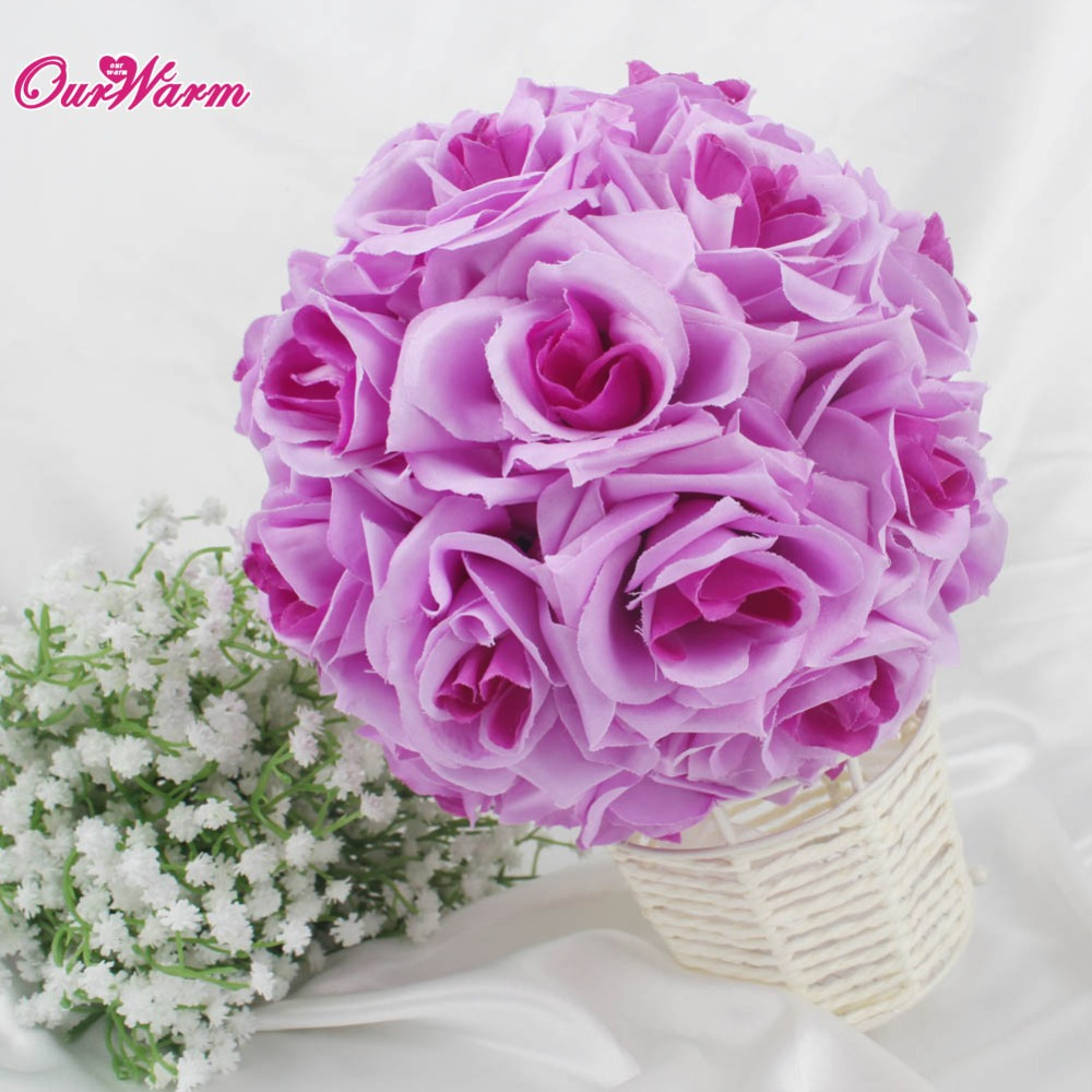 18cm Diameter Silk Rose Flower Ball Artificial Bouquet Kissing Ball ...