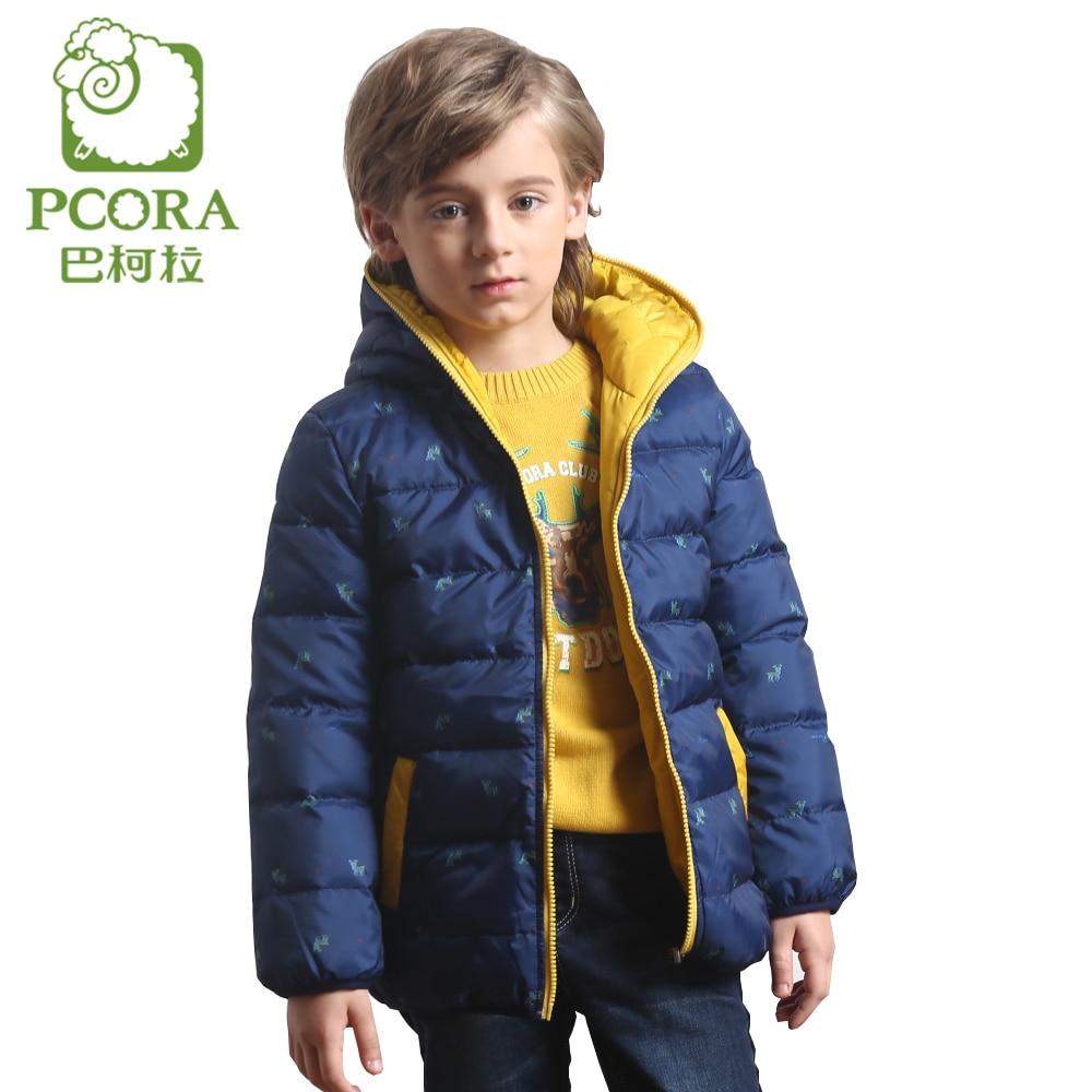 PCORA Winter Reversible Jacket Boy Import Clothing China 90% White Duck Down Hooded Winter Print Coat 4T~14T Children Clothing рижский рынок купить цветы ночью