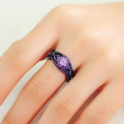 rn3045 turkish engagement couple rings purple cubic zirconia black women wedding ring seto jewelry fashion rings for women 2016 in rings from jewelry