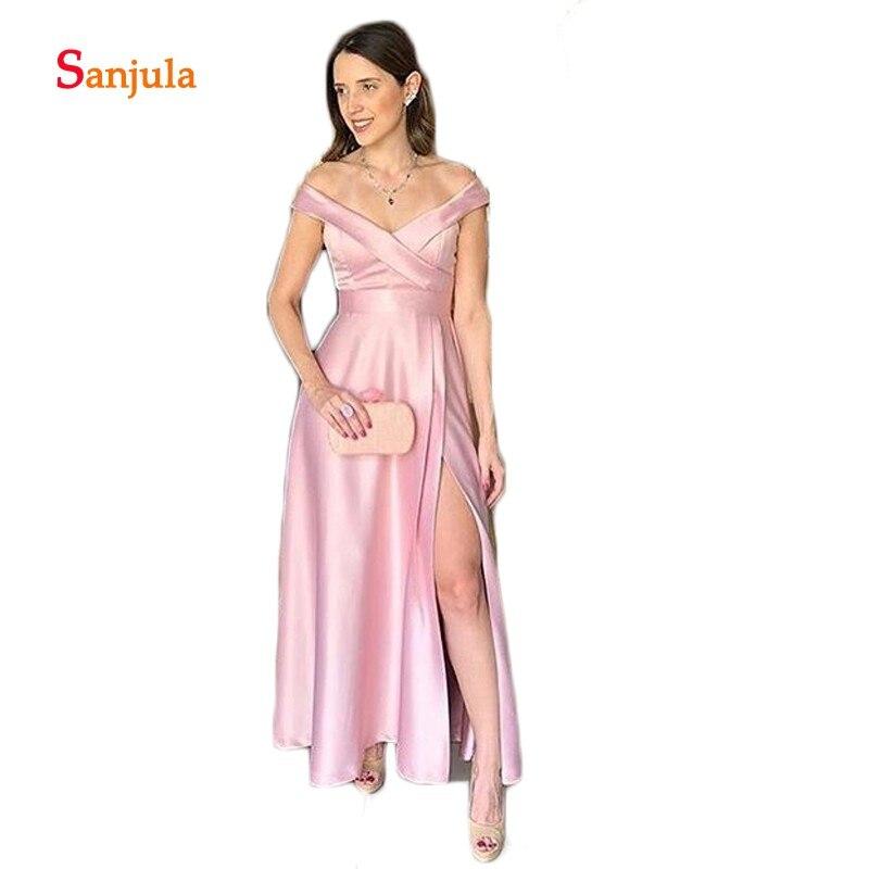 Floor Length Satin   Bridesmaid     Dresses   Sweetheart A-Line Off the Shoulder Wedding Party   Dress   Leg Slit Prom   Dresses   Backless D297