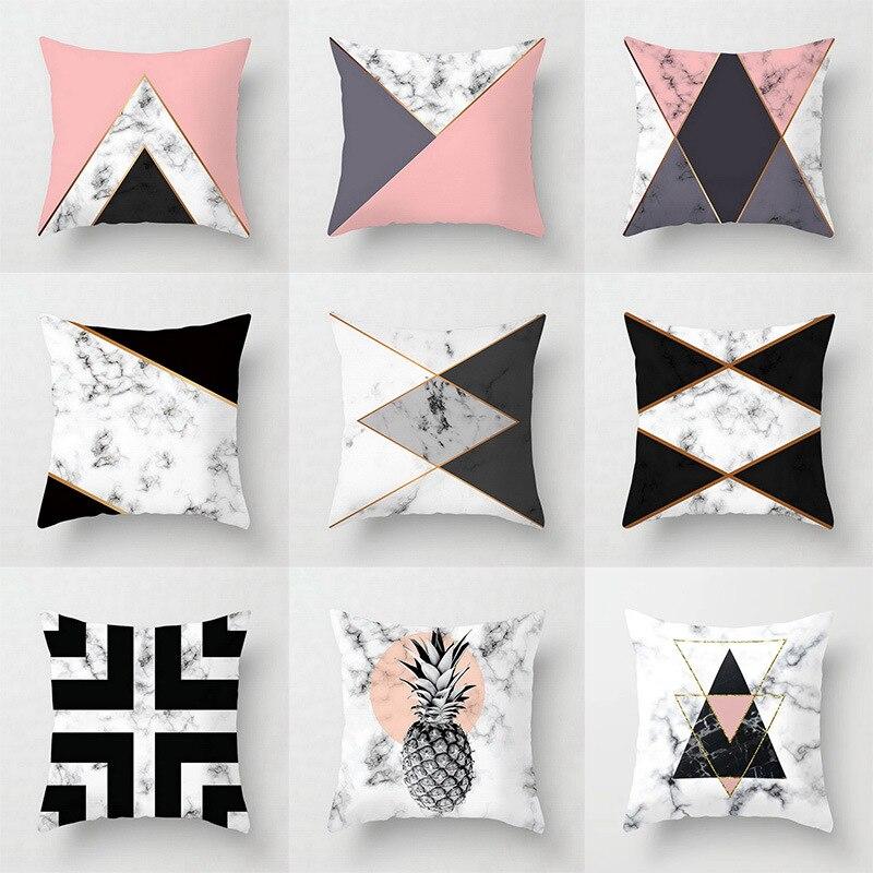 Rosa geométrico abstrato decorativo travesseiros caso padrão de mármore flor designer branco e preto cinza barato capa de almofada 45*45 cm