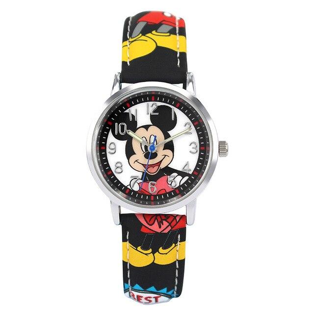 Children Quartz Wristwatches Disney brands Cartoon leather boys girls Mickey Minnie kids watches  student relogio clocks