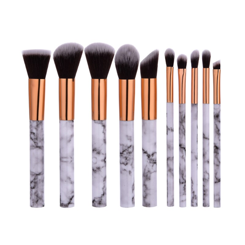 10 pcs Professnial Wanita Makeup Brushes Sangat Lembut Makeup Brush Set Yayasan Powder Brush Kecantikan Marmer Make Up Alat