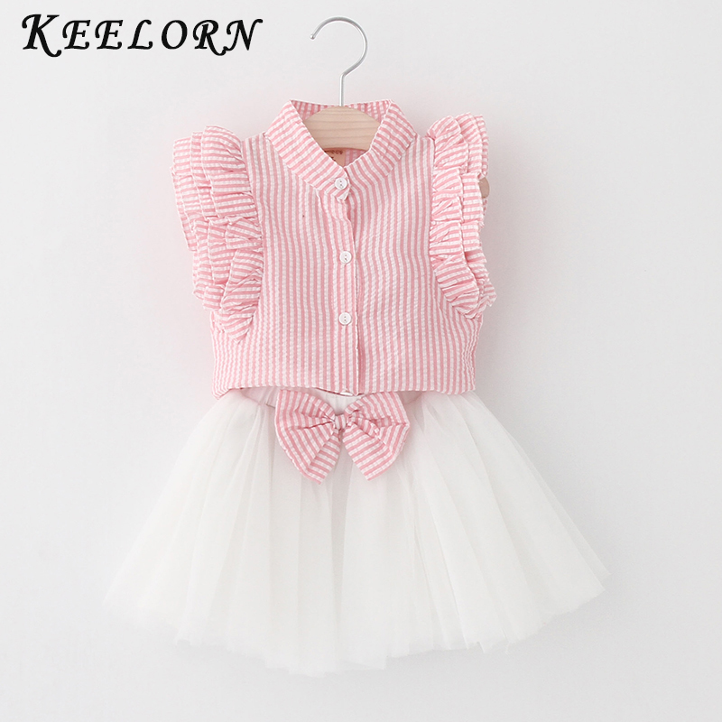 Kids Girls Clothing Sets 2017 Summer New Brand Girls Clothes White Cartoon Short Sleeve T-Shirt+Veil Dress 2Pcs Children Clothes
