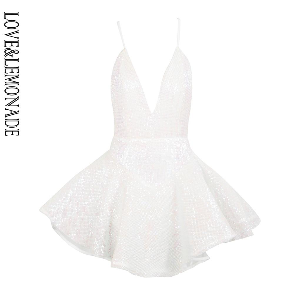Love&Lemonade Sexy Deep V-Neck Open Back Ballet Style Sequins Playsuit LM81619 WHITE