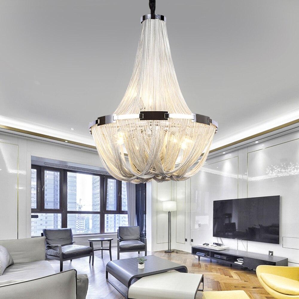 Gland lustre éclairage moderne en aluminium chaîne lustres lumière suspendus luminaires pour salon salle à manger décor