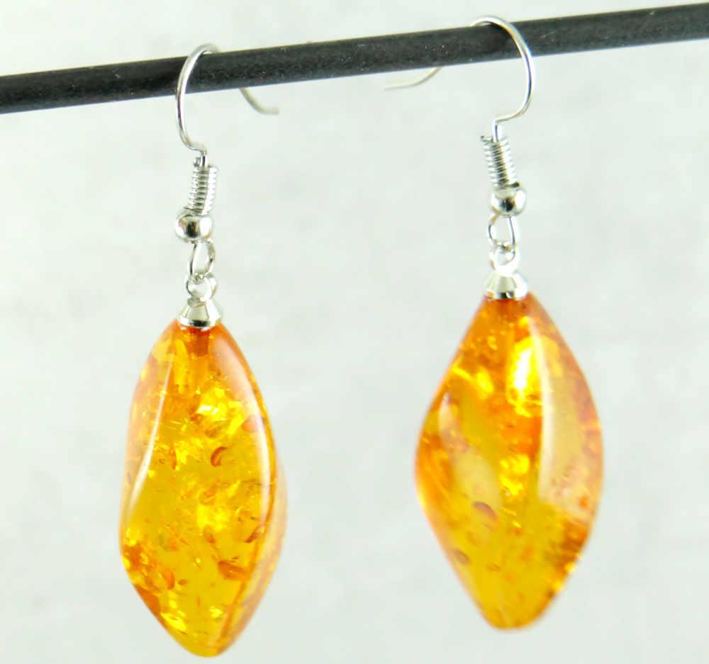 แฟชั่น Precious Modernist Multicolor Tear Drop golden honey ambers ต่างหูแฟชั่นผู้หญิงเครื่องประดับของขวัญ party จัดส่งฟรี