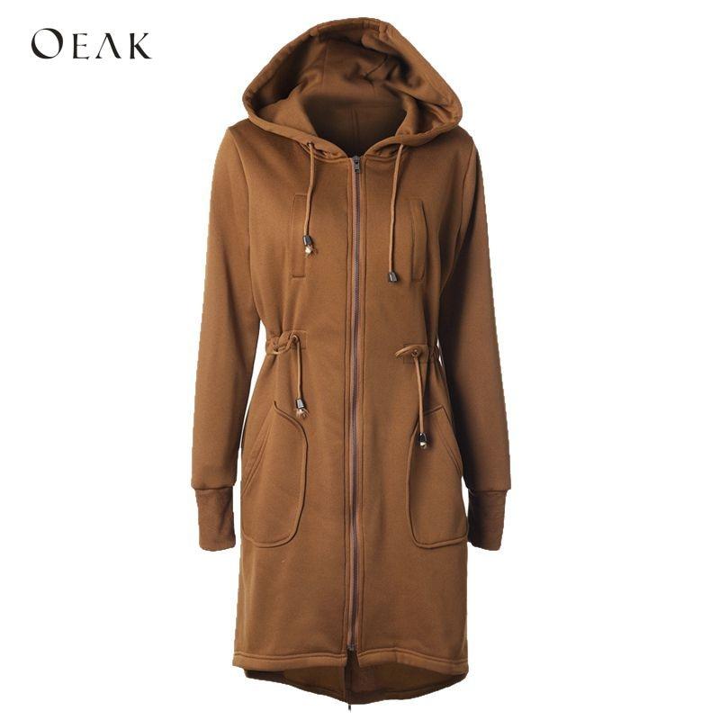 OEAK Autumn Winter Coat Women Fashion Long Hooded Jackets Ho