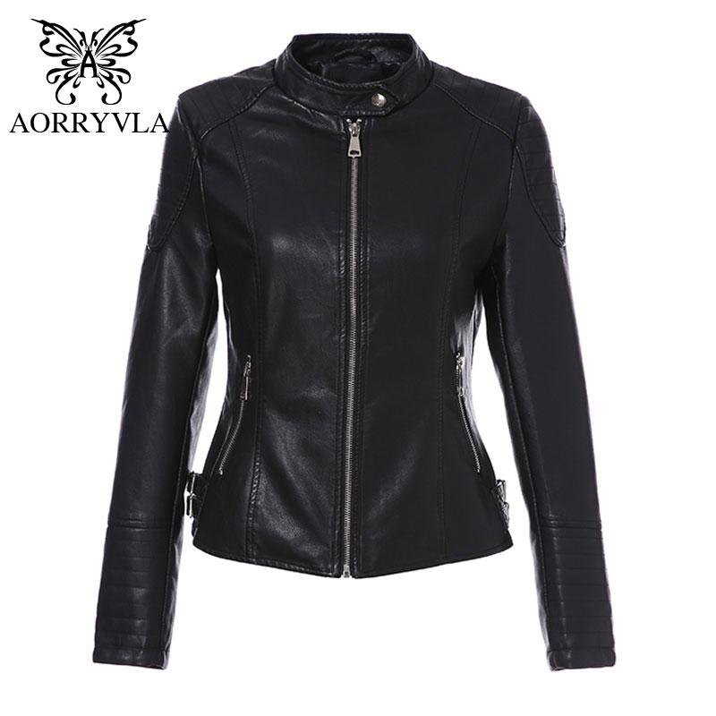 Korean Women/'s Stand Collar Slim Motorcycle Biker PU Leather Coats Short Jackets