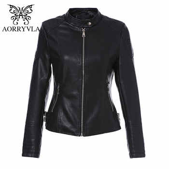 AORRYVLA 2019 Brand Women's Leather Jacket Motorcycle Black PU Leather Jacket Short Length Slim Faux Leather Coats New Arrival - DISCOUNT ITEM  50% OFF All Category