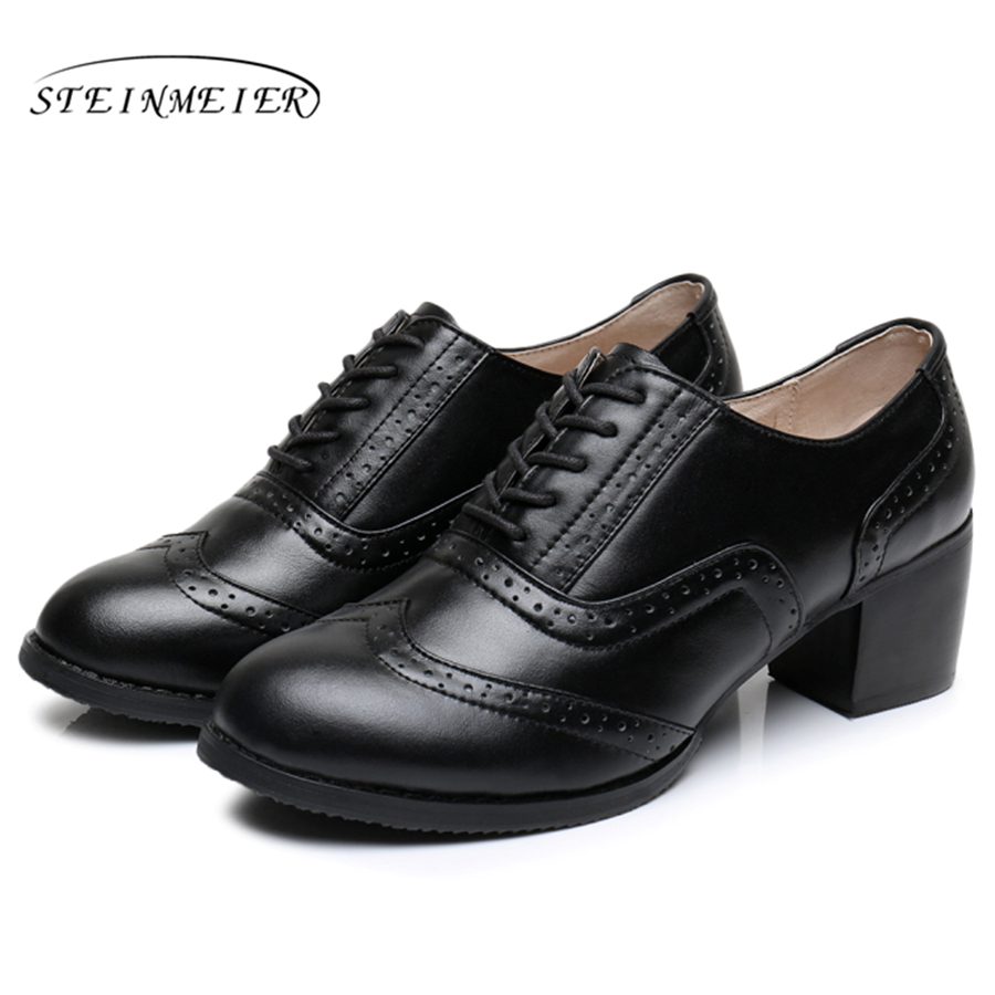 Cow leather big woman shoes US size 9 designer vintage High heels round toe handmade black pumps 2019 sping with fur