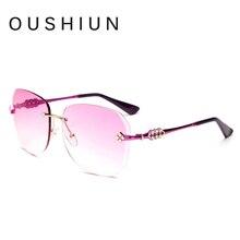 Oushiun gafas de sol mujeres sin borde rosa gafas de sol de mujer de Marca diseño gafas de sol mujer noble de la manera gafas de sol UV400 oculos