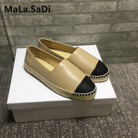 Fashion Classical Fishman Hemp Jute Soled Famous Brand Designers Women Flats Spring Autumn Leather Espadrilles Loafers Shoes