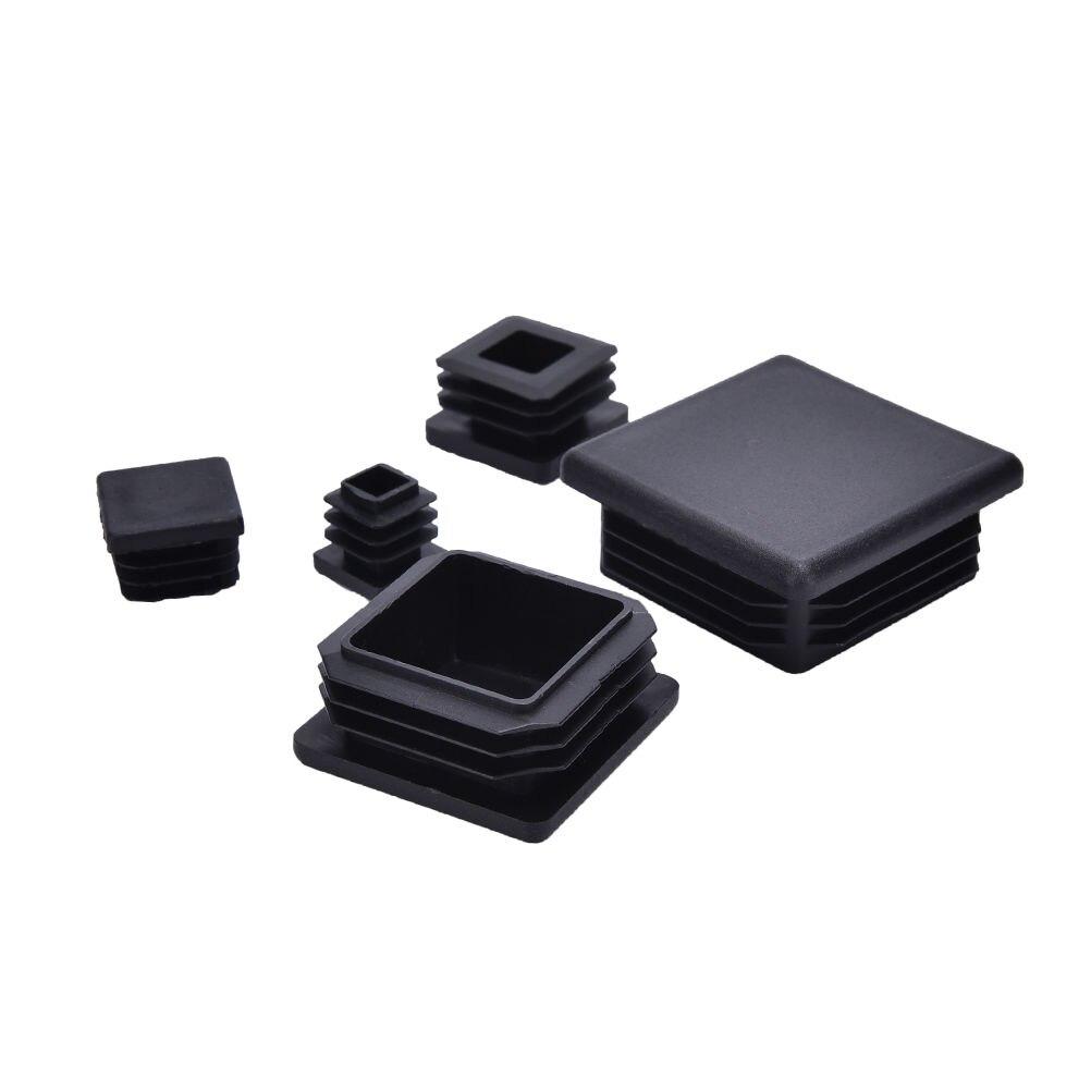 10 قطعة كرسي الساق البلاستيك تقطيع نهاية كاب مربع أنبوب إدراج الأسود 15 مللي متر 20 مللي متر 25 مللي متر 30 مللي متر 40 مللي متر 50 مللي متر