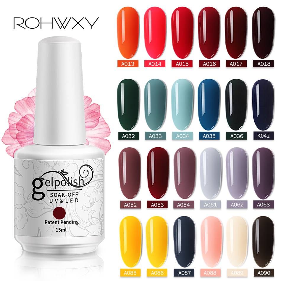 ROHWXY 15ml Uv Gel Nail Polish Top Uv Led Gel Nail Art Varnish Hybrid Soak Off Gel Lacquer Lucky Nail Paint Gel Polish Gellak(China)