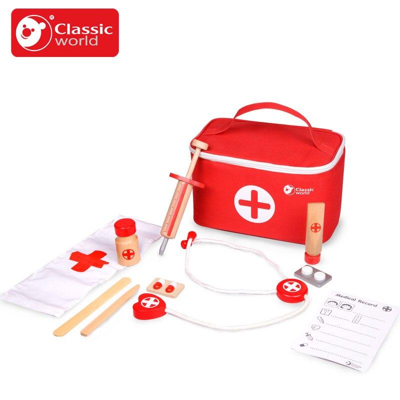 Classique 11 pièces fille garçon enfant en bois armoire à pharmacie jouets enfants Simulation médecins jouets semblant jouer jouets éducatifs cadeau