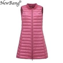 NewBang Brand Womens Long Vest Ultra Light Down Vest Women Female Down Coat Long Slim Sleeveless Baseball Collar Jacket