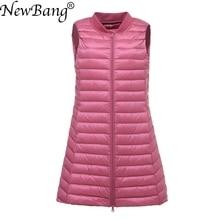 Newbang marca feminina colete longo ultra leve para baixo colete feminino para baixo casaco longo fino sem mangas gola de beisebol jaqueta