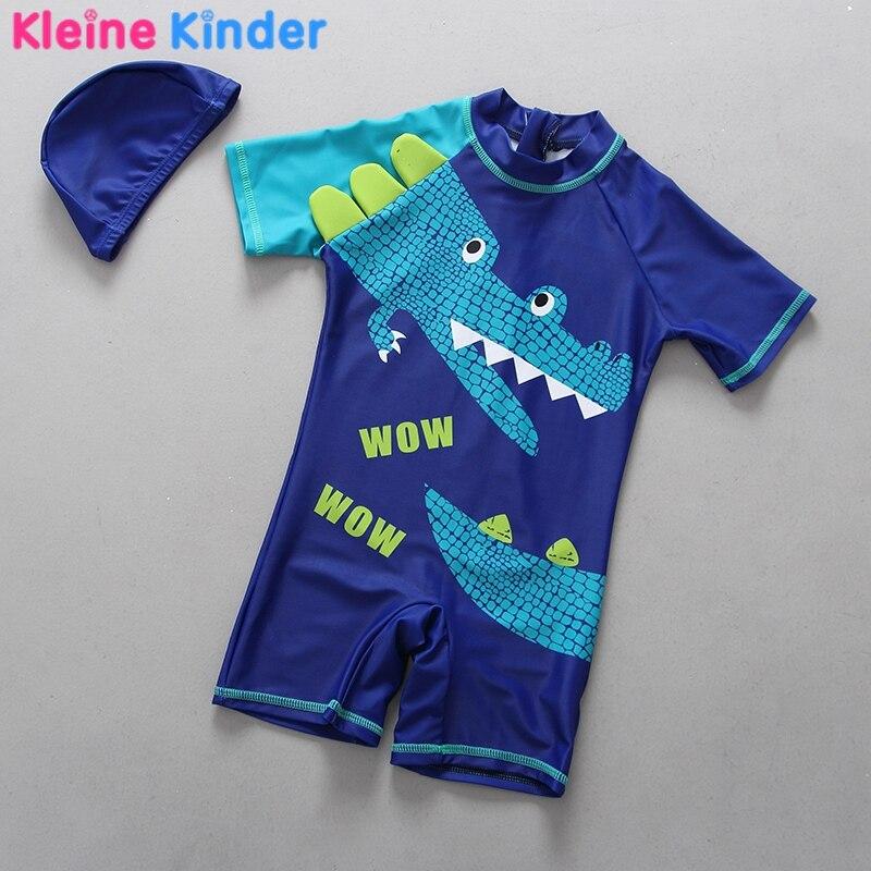 0-6Y Kids Swimsuits 2018 Children Boys 1-Piece Crocodile Print Baby Boy Swimwear Back Zipper S/S Bathing Suits Pool Beachwear