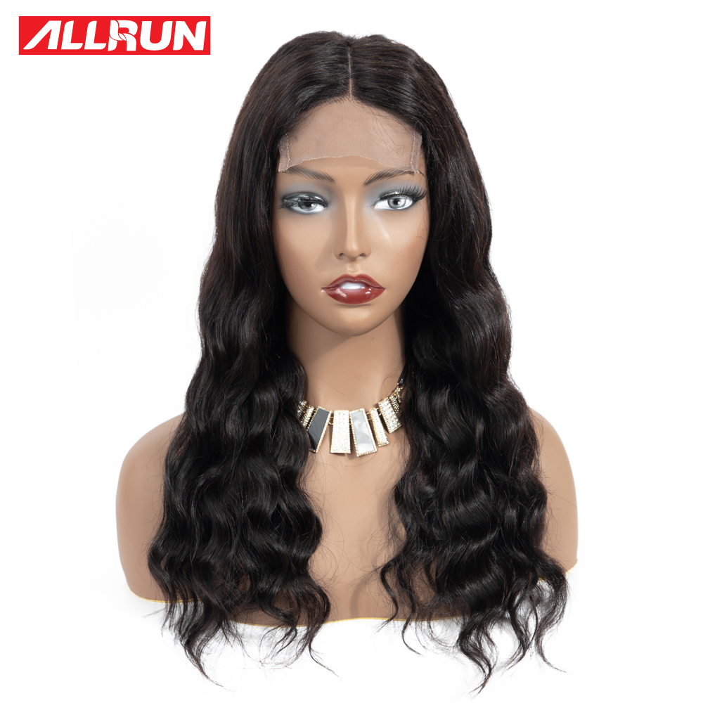 HTB104EkXKL2gK0jSZPhq6yhvXXaE Allrun 4*4 Lace Closure Wigs With Baby Hair Brazilian Body Wave Lace Human Hair Wigs For Women Non-Remy Hair Low Ratio 130%