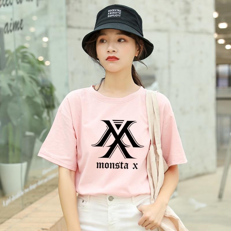 MONSTA X Kpop Tshirt Women Korean Ulzzang Short Sleeve Cotton Tops Tees Summer Fashion Casual Streetwear Harajuku Tumblr T Shirt