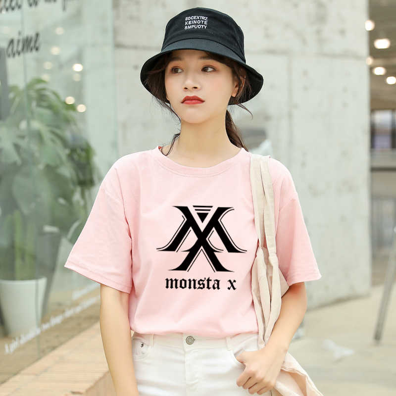 MONSTA X Kpop Tshirt Women Korean Ulzzang Short Sleeve Cotton Tops ...
