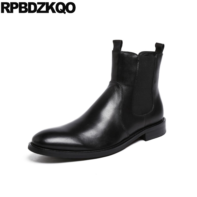2018 Black Dress Autumn Formal Round Toe Designer Fall Chelsea High Top Ankle Full Grain Leather Boots British Style Men Shoes ankle strap heels wrap full grain leather t low cut uppers british style high quality round toe single shoes with thick soles