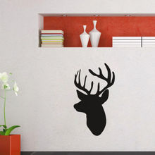 Animal Art Wall Mural Deer Head Silhouette Design Vinyl Wall Sticker Living Room Home Decor Wall Decals Y-692 цена и фото