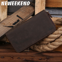 B200Maxwell Promotion High Quality Vintage 100% Guarantee Crazy Horse Leather Genuine Leather Long Size Men Wallets Purse
