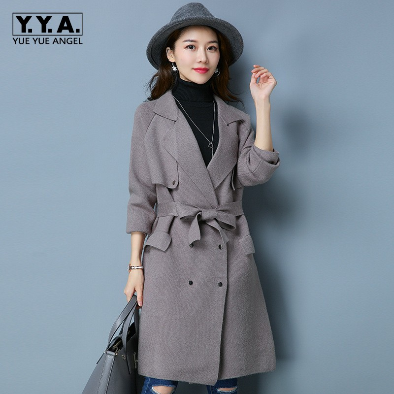2018 New Korean Long Sweater For Women Knitted Trench Double Breasted Belted Female Cardigan Elegant Lady Lapel Collar Coats