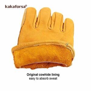 Image 5 - Kakaforsa Fashion oryginalne żółte skórzane męskie zimowe rękawiczki Outdoor Sports wiatroszczelne ciepłe rękawiczki pełne rękawiczki do biegania