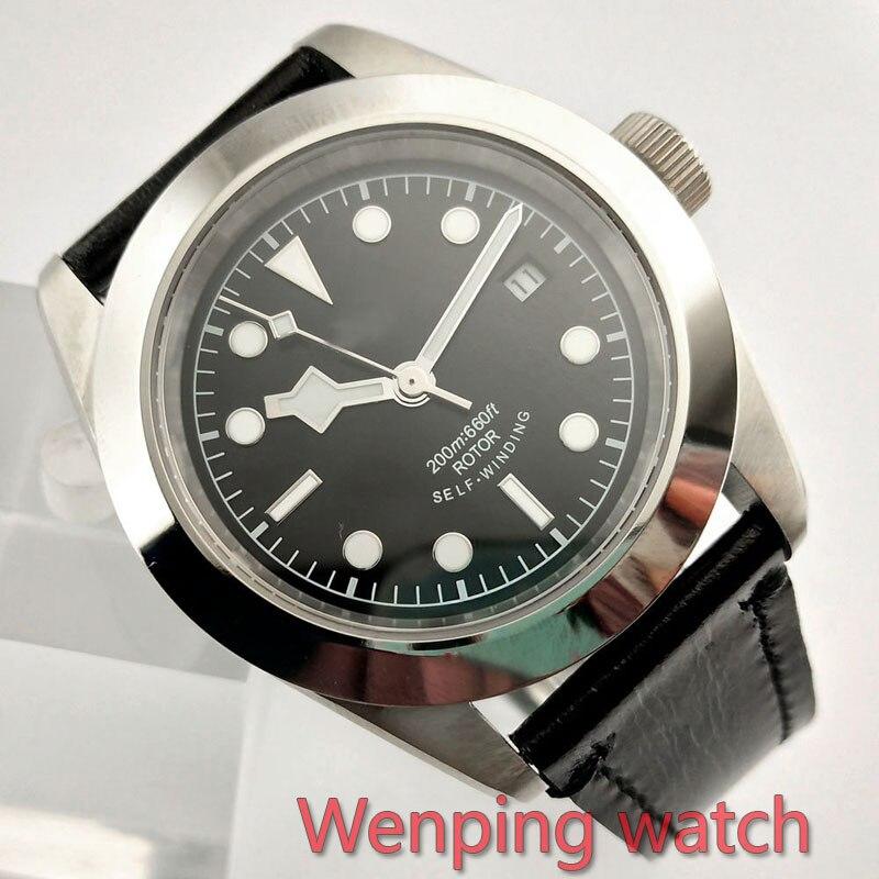 W2502 Corgeut 41mm Gepolijst Zwart serie Wijzerplaat Automatische Ontwerp Klok Leather Mechanische Horloges-in Mechanische Horloges van Horloges op  Groep 1