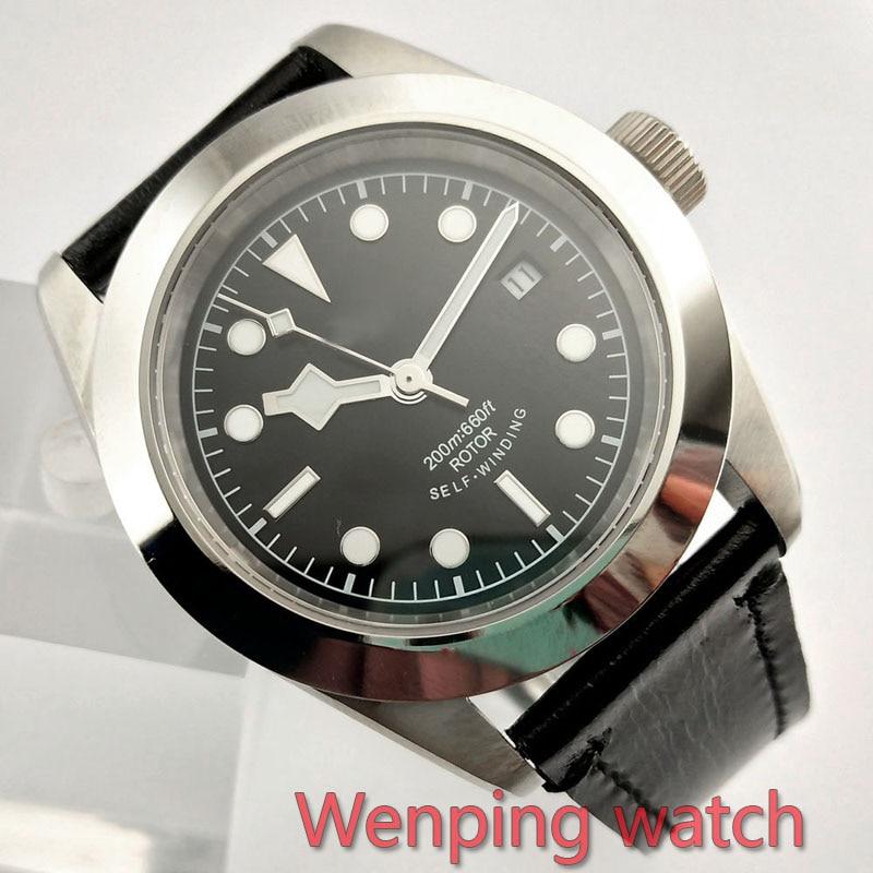 W2502 corgeut 41mm 세련된 블랙 시리즈 다이얼 자동 디자인 시계 가죽 기계식 손목 시계-에서기계식 시계부터 시계 의  그룹 1