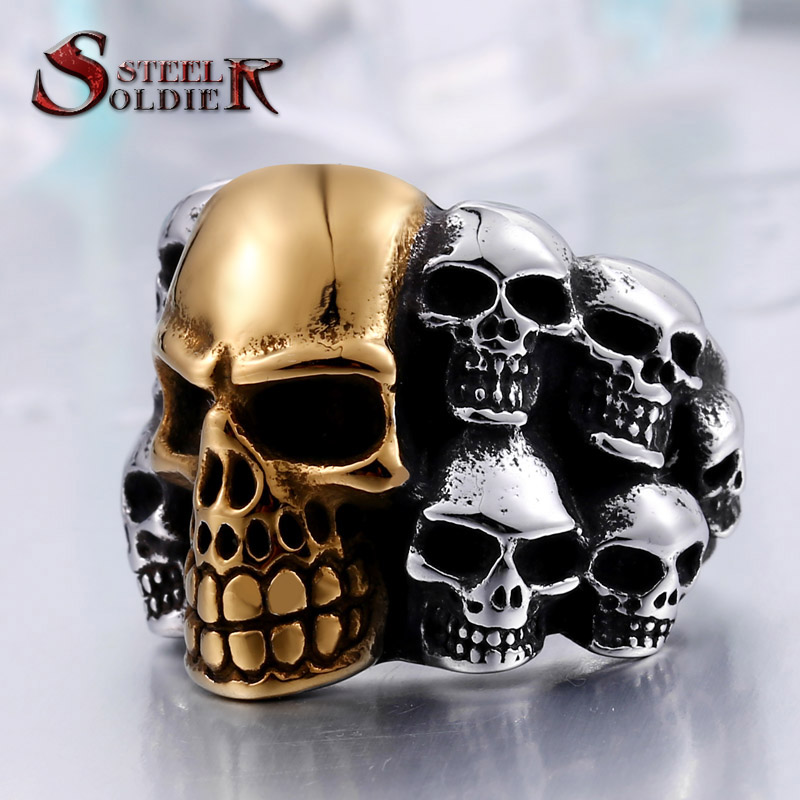 steel soldier unique Store Steel soldier Punk Biker Men's Titanium Stainless Steel Ring Multi Rock lots Skull Ring For Men