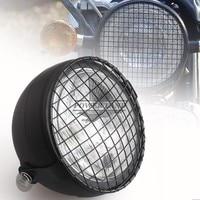 Black 12V Motorcycle Metal Retro Old School Grill Mask + Blub Front Headlight Fits For Honda CB100 CB125S CL GN125 CG125 Suzuki