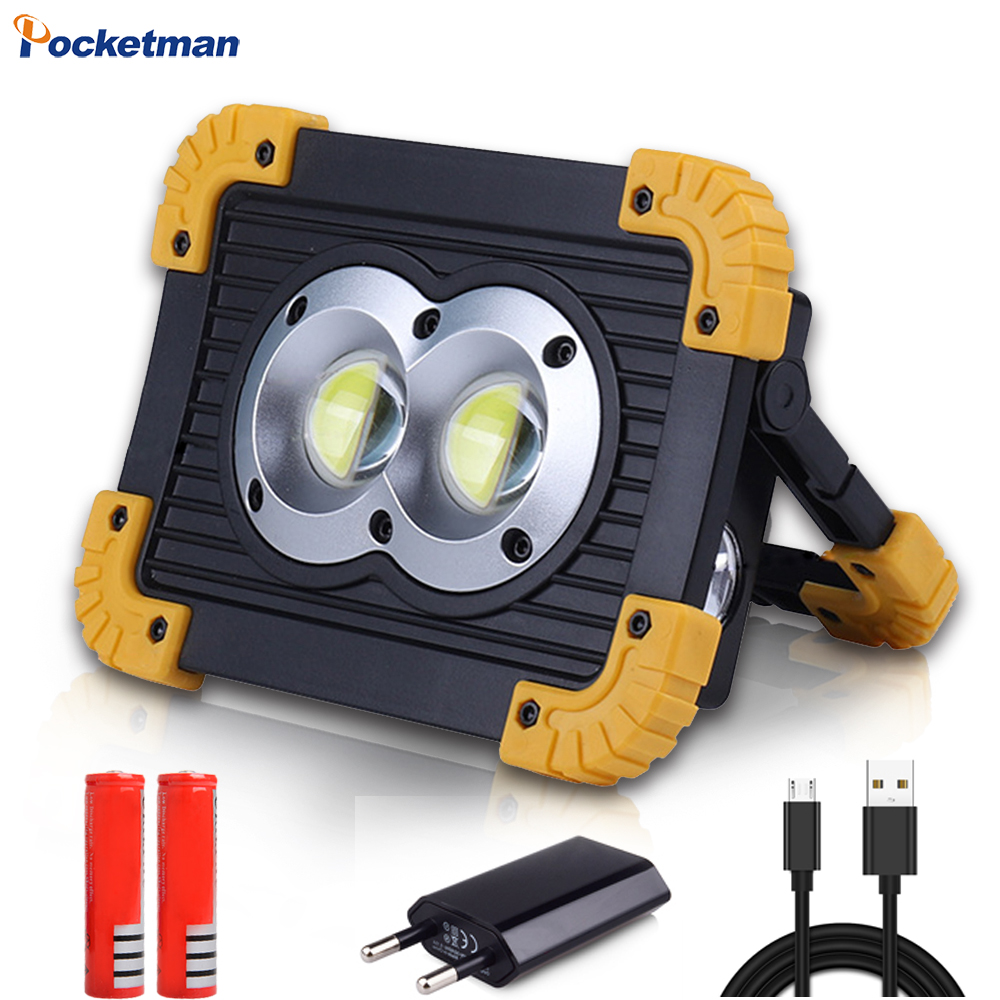 Lanterna recarregável de led, portátil, cob, luz de holofote, à prova d água, usb, recarregável, banco de energia, para iluminação ao ar livre