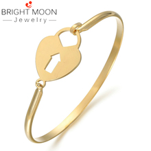 Bright Moon Stainless Steel Women Bracelets Charming Bangles Gold Plating Cuff Bangles Uninsex For Women Men Jewelry Gift