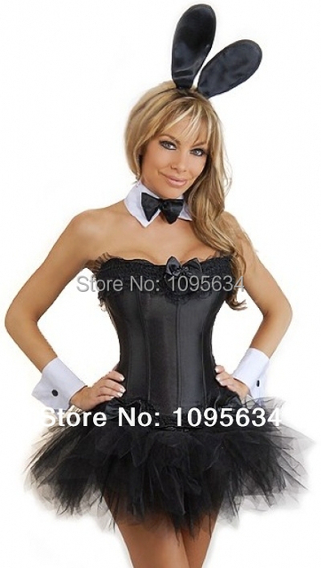 free shipping Sexy  Halloween  bunny devil corset bustier with skirt S-6XL