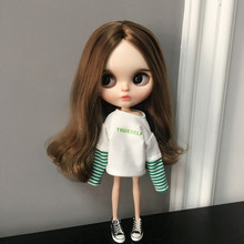 Casual Stripes Long Sleeve Hoodie Sweatshirt for lythe Doll ob24 Azone Licca Jointed Barbies Dolls Clothes Lol Dolls Accessories ox horn button coat for azone momoko licca pullip blyth doll clothes accessories