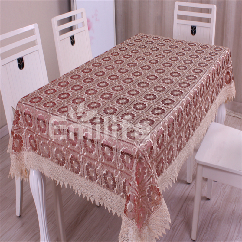 Rectangular/ Round Table Cloth Transparent Embroidered