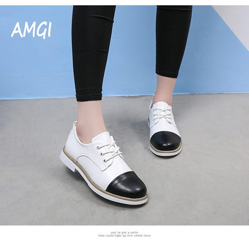 AMGI  2017 Spring Autumn Lace Up Casual Thick Heel Brogues Shoe Woman Oxford Shoes Vintage  Leather Flats Womens 458 36 in 1 telecom screw driver precision screwdriver set hex torx phillips slotted maintenance magnetic multifunction repair tool