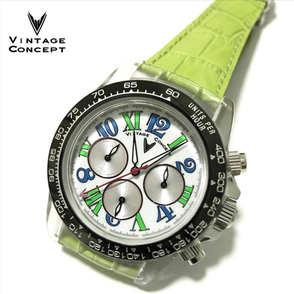 Vintage Concept mode femmes Quartz chronographe montre en plastique boîtier montre 50 m résistant à l'eau bracelet en cuir Femme montre-bracelet