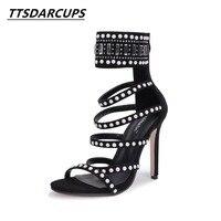 TTSDARCUPS Rome style pump Ankle strap Rhinestone Rivet shoes Fish mouth Super heel sandals Large size Women's Shoes